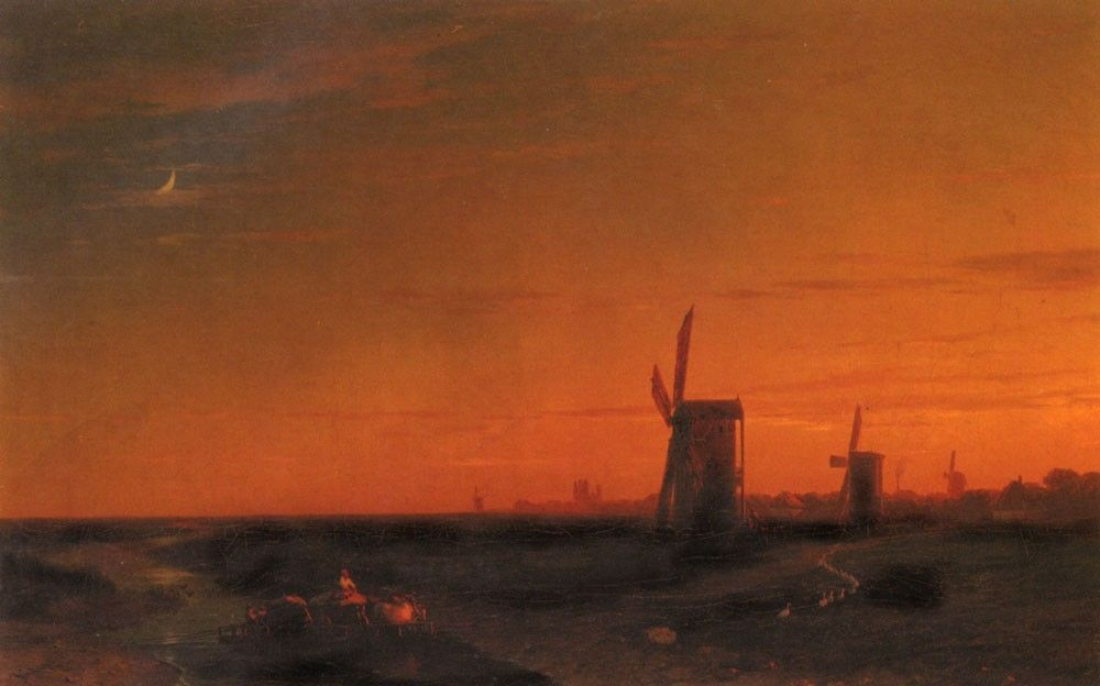 Ivan Constantinovich Aivazovsky Landscape With Windmills