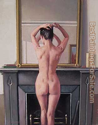 Jack Vettriano Model at Mirror