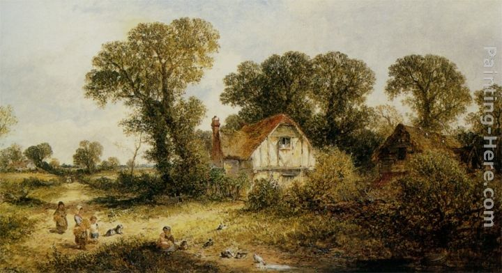 James Edwin Meadows Childrem by a Country Cottage