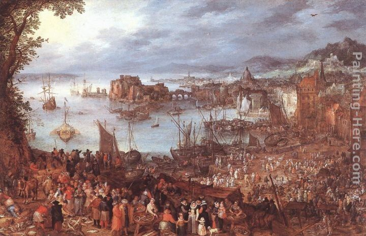 Jan the elder Brueghel Great Fish-Market