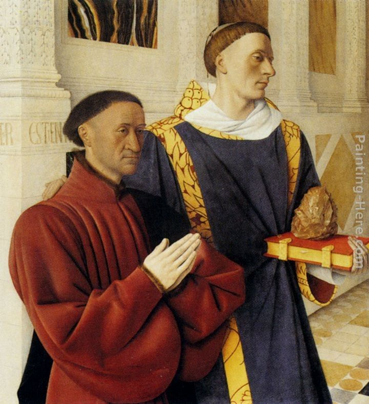 Jean Fouquet Etienne Chevalier With St. Stephen (panel of the Melun Diptych)