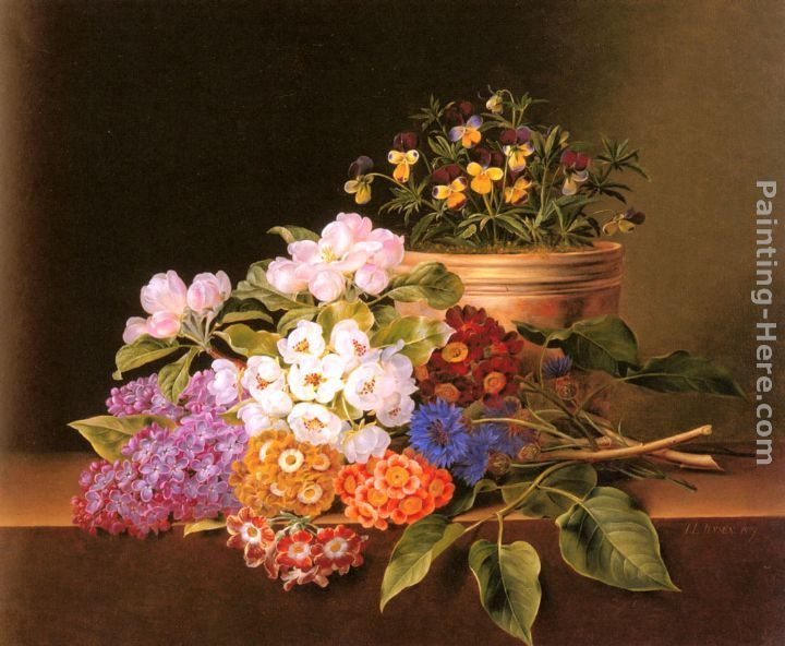 Johan Laurentz Jensen Apple Blossoms, Lilac, Violas, Cornflowers and Primroses on a Ledge