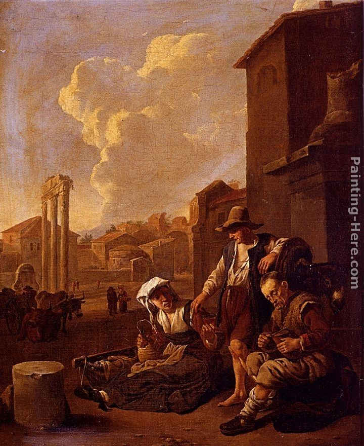 Johannes Lingelbach Peasant Family Having Bread And Wine, The Campo Vaccino, Rome, Beyond