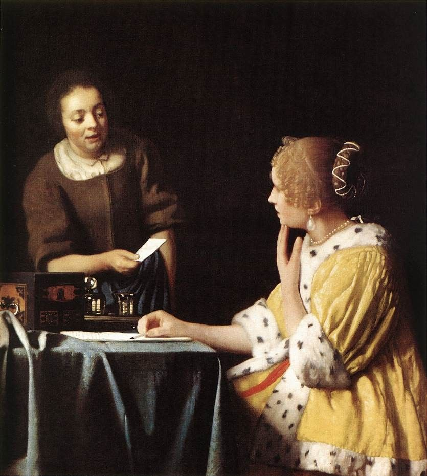 Johannes Vermeer Lady with Her Maidservant Holding a Letter