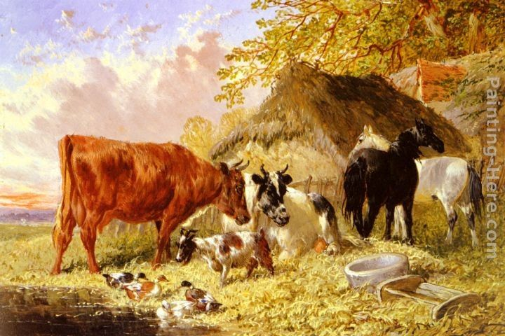 John Frederick Herring, Jnr Horses, Cows, Ducks and a Goat by a Farmhouse