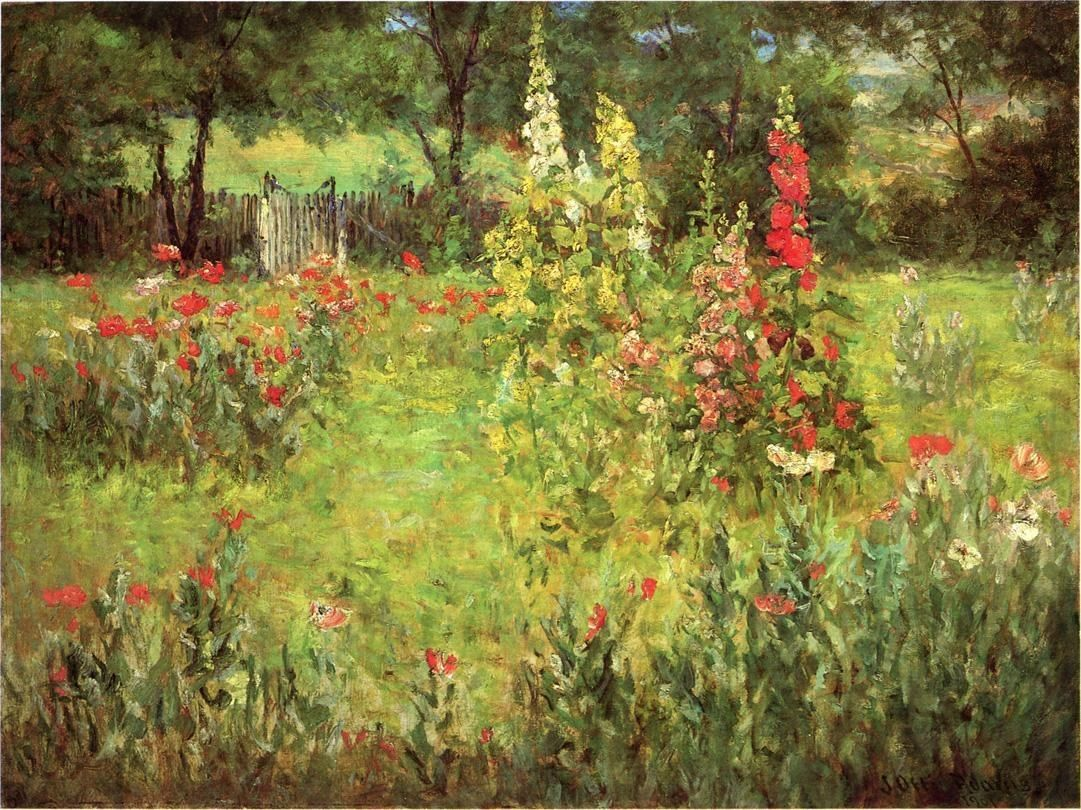 John Ottis Adams Hollyhocks and Poppies The Hermitage