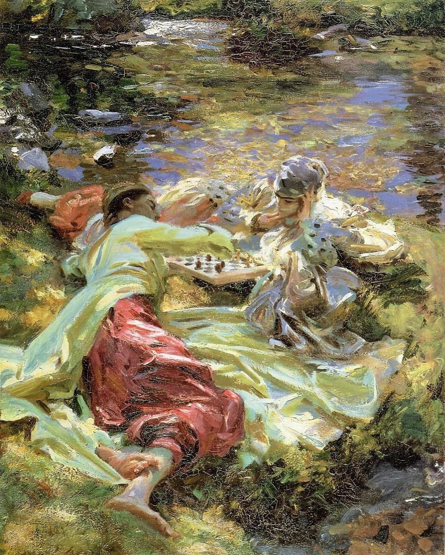 John Singer Sargent The Chess Game