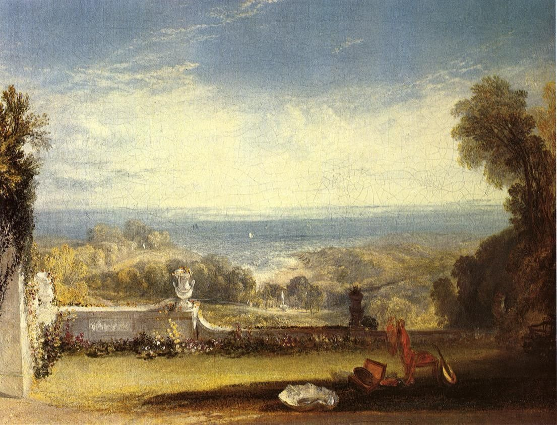 Joseph Mallord William Turner View from the Terrace of a Villa at Niton, Isle of Wight from sketches by a lady