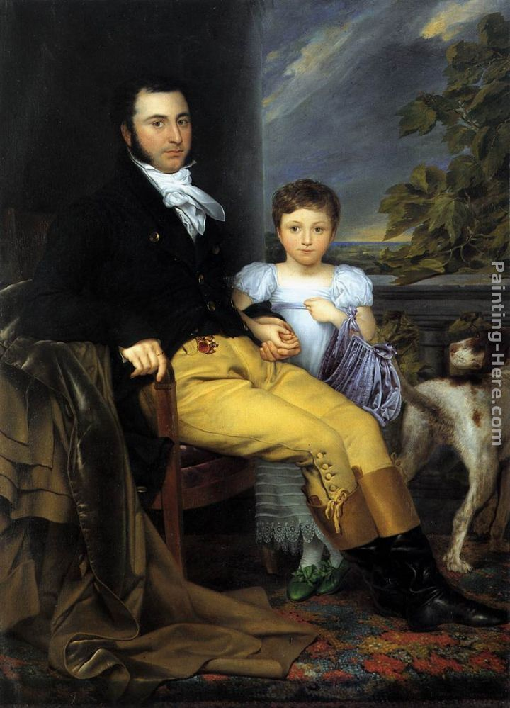 Joseph-Denis Odevaere Portrait of a Prominent Gentleman with his Daughter and Hunting Dog