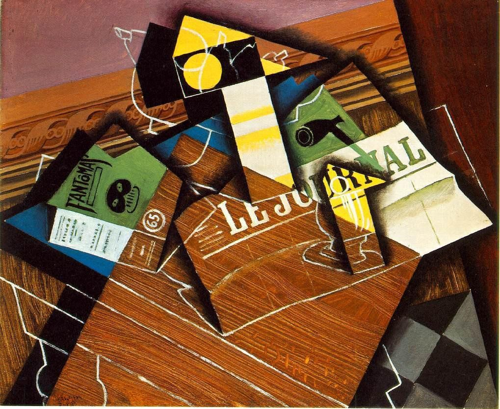 Juan Gris Fantomas Pipe and Newspaper