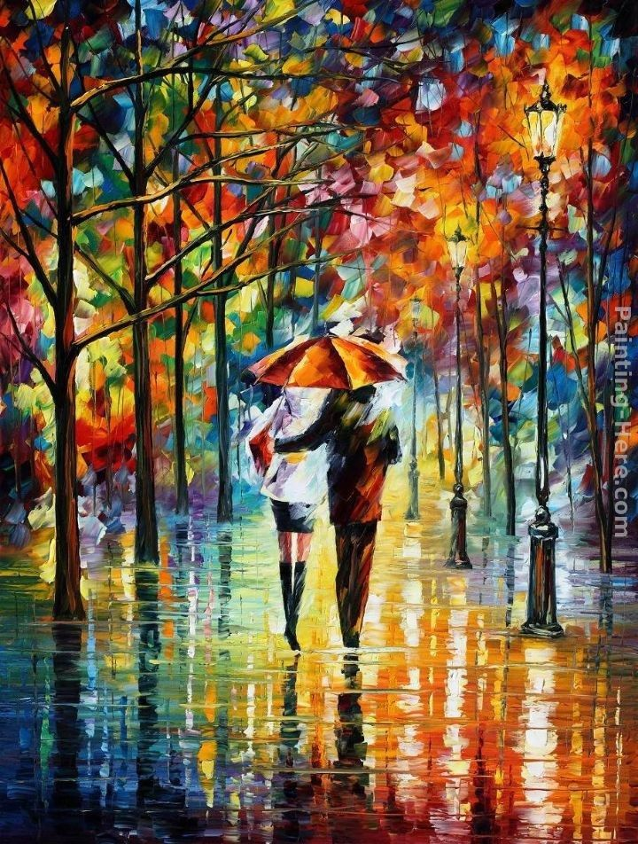 Leonid Afremov UNDER THE RED UMBRELLA