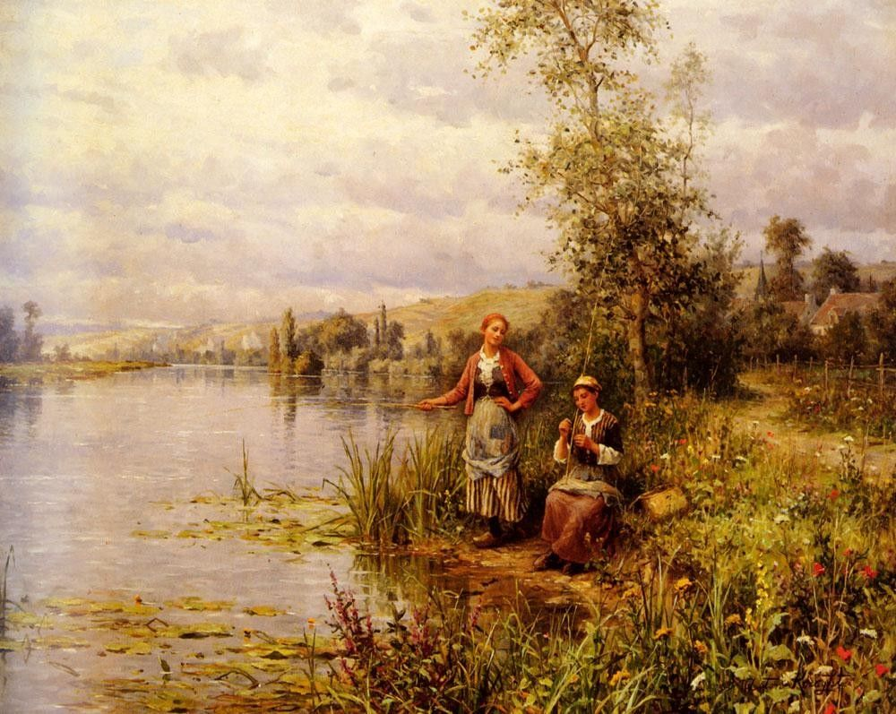 Louis Aston Knight Country Women Fishing on a Summer Afternoon