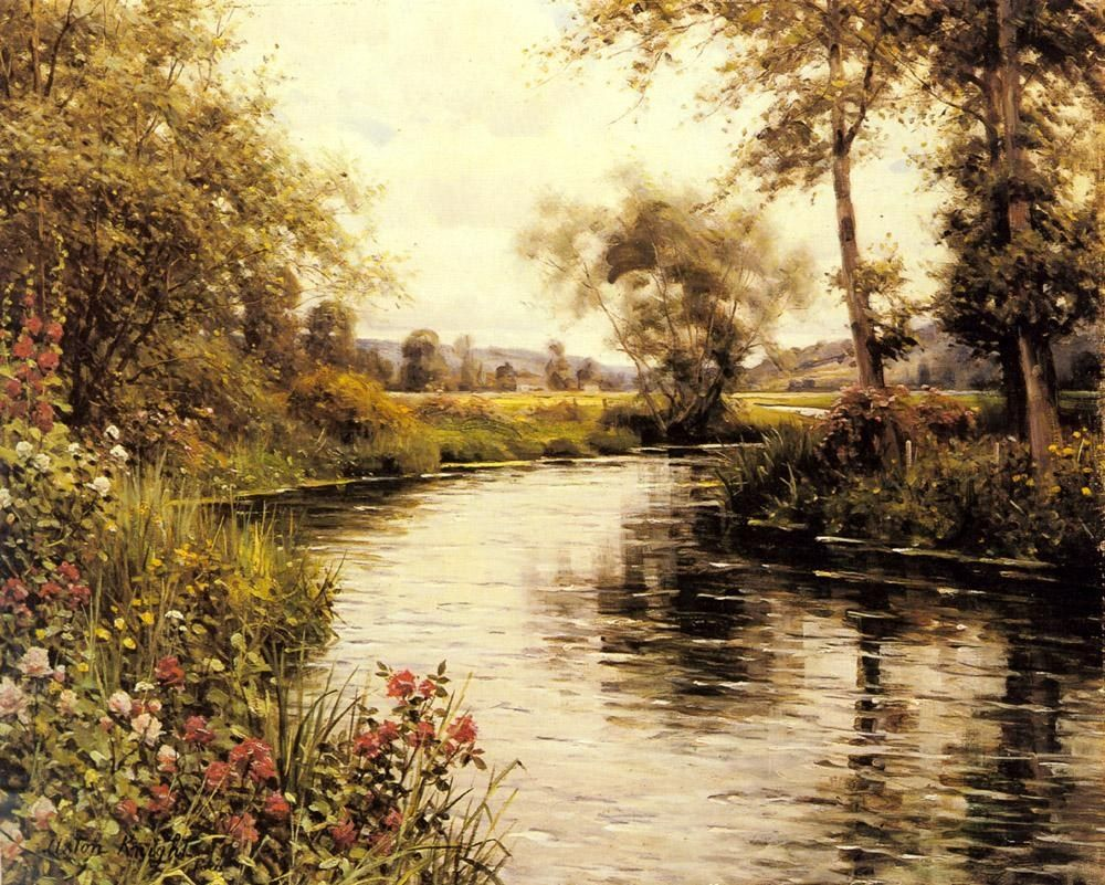 Louis Aston Knight Flowers in Bloom by a River