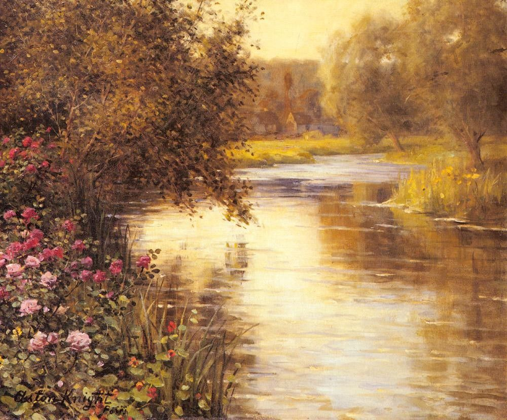 Louis Aston Knight Spring Blossoms along a Meandering River