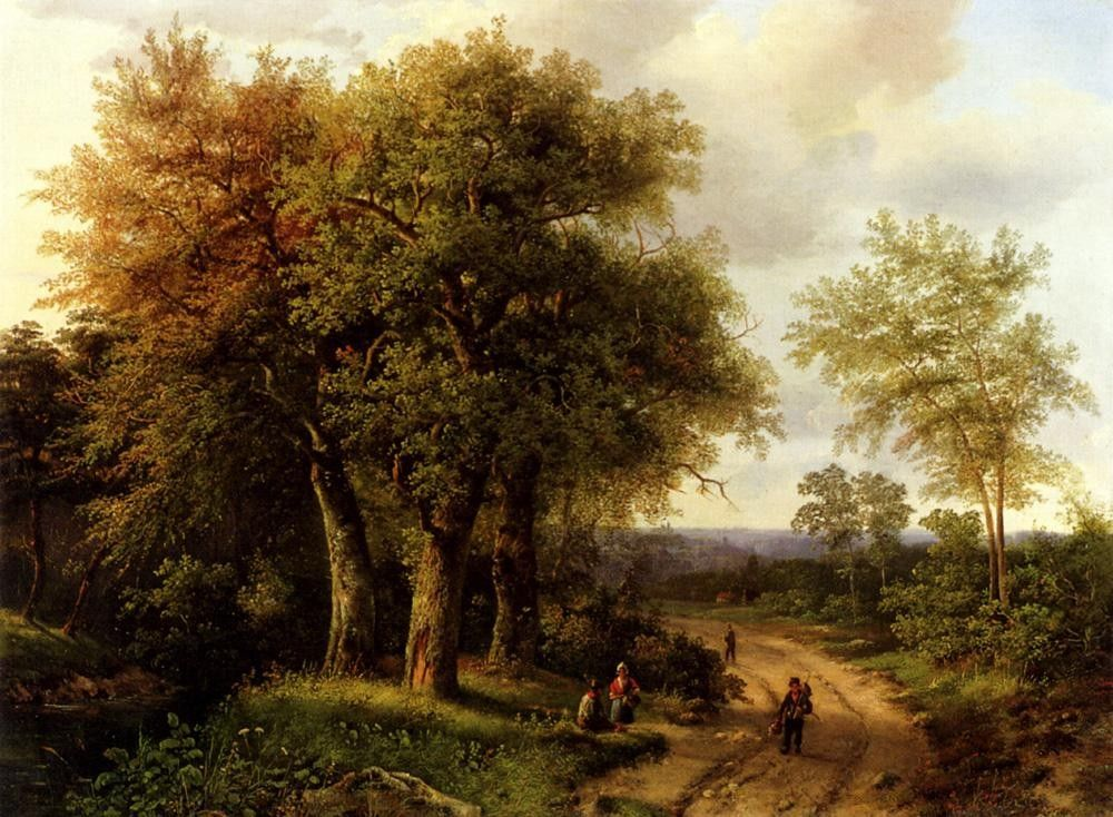 Marianus Adrianus Koekkoek Travellers Resting On A Wooded Path