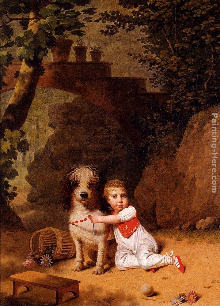 Martin Drolling Portrait Of A Little Boy Placing A Coral Necklace On A Dog, Both Seated In A Parkland Setting