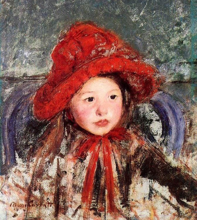 Mary Cassatt Little Girl In A Large Red Hat