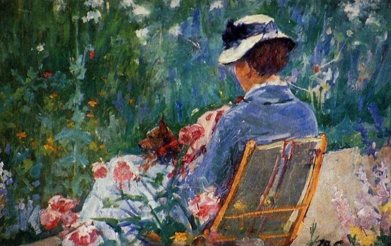 Mary Cassatt Lydia Seated In The Garden With A Dog In Her Lap