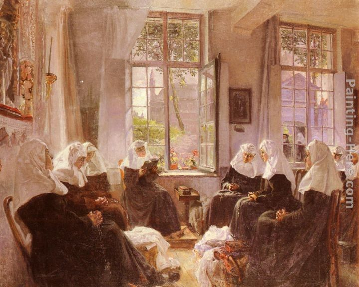 Max Silbert The Lacemakers Of Ghent At Prayer
