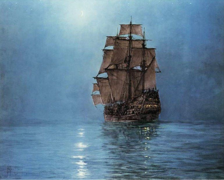 Montague Dawson Crescent Moon
