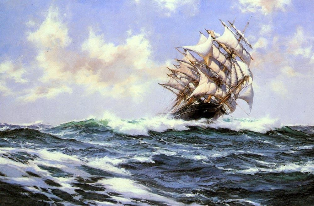 Montague Dawson Sun-Flecked Foam--The Barnabas Webb of Thomaston