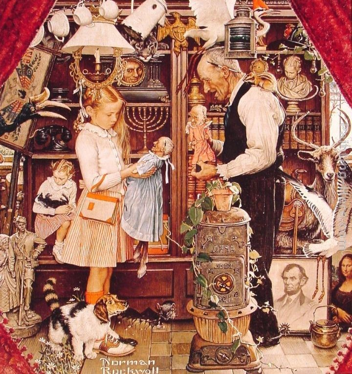 Norman Rockwell April Fool Girl with Shopkeeper