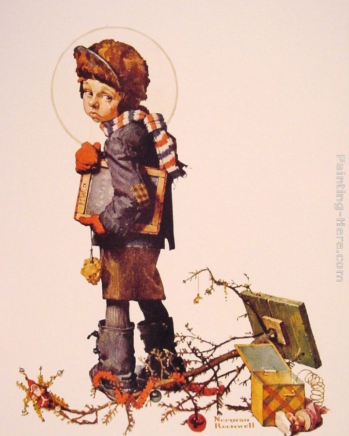 Norman Rockwell Little Boy holding Chalk Board