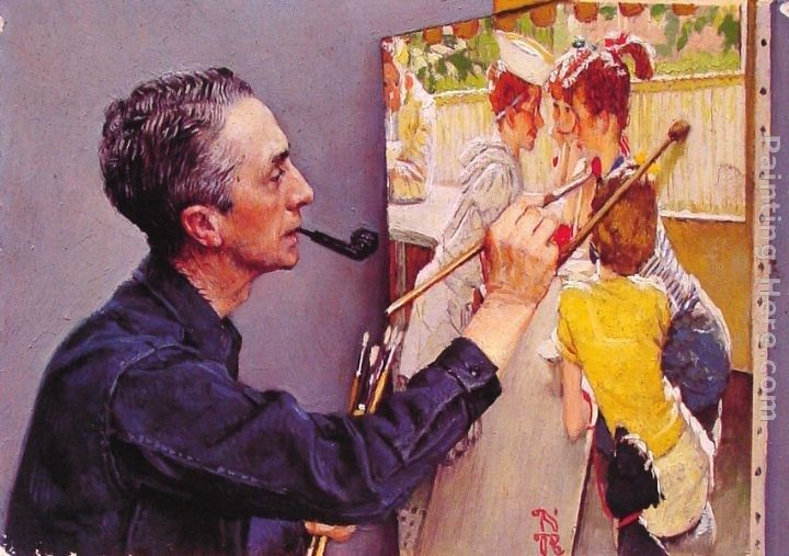 Norman Rockwell Portrait of Norman Rockwell Painting the Soda Jerk