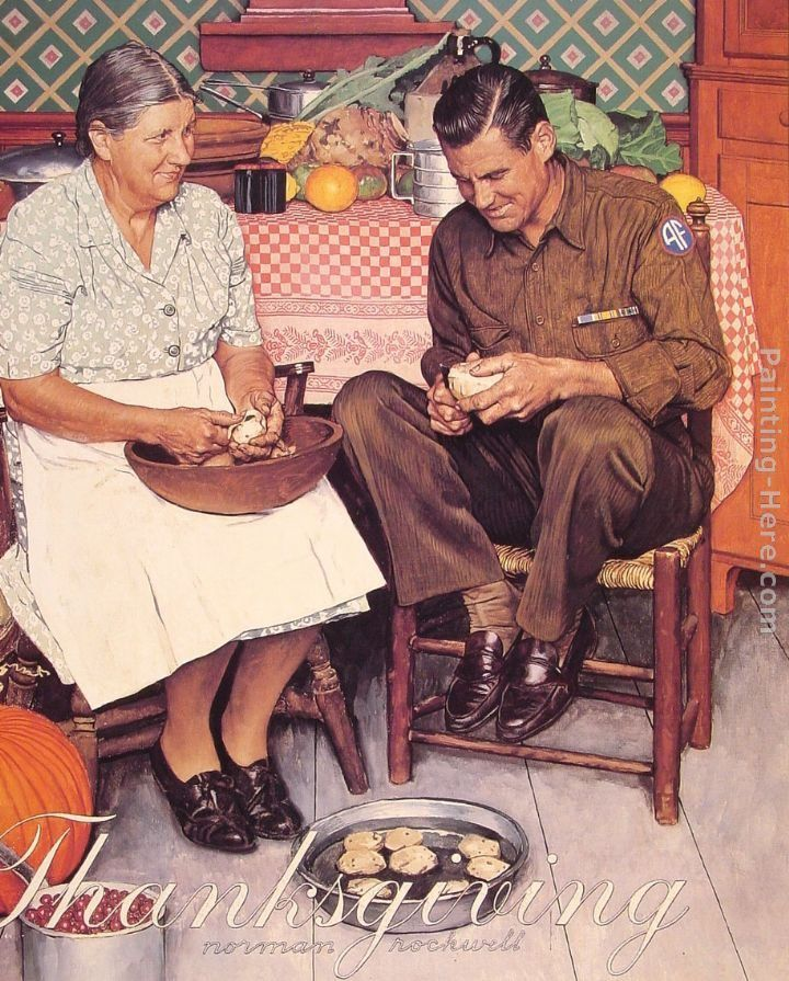Norman Rockwell Thanksgiving Mother and Son Peeling Potatoes