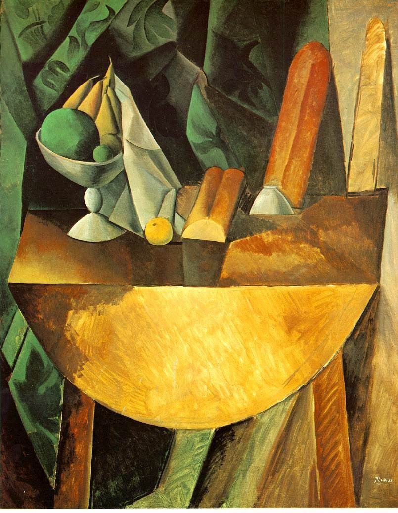 Pablo Picasso Bread and Fruit Dish on a Table