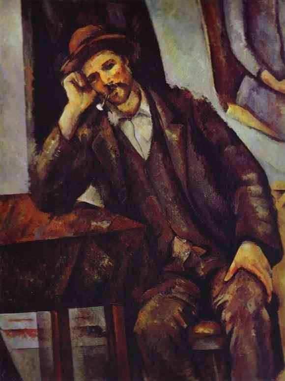 Paul Cezanne Man Smoking a Pipe