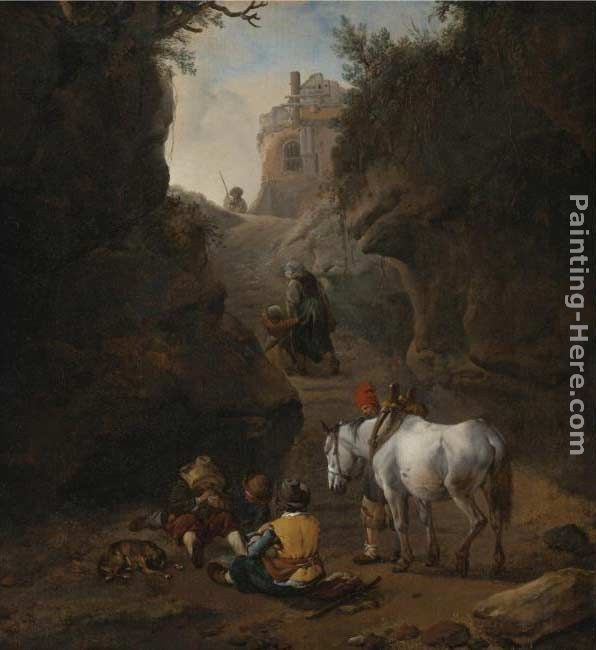 Philips Wouwerman Peasants Playing Cards by a White Horse in a Rocky Gully