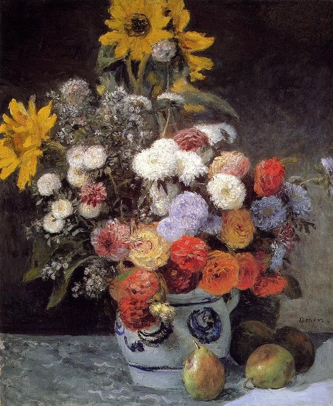 Pierre Auguste Renoir Mixed Flowers In An Earthware Pot