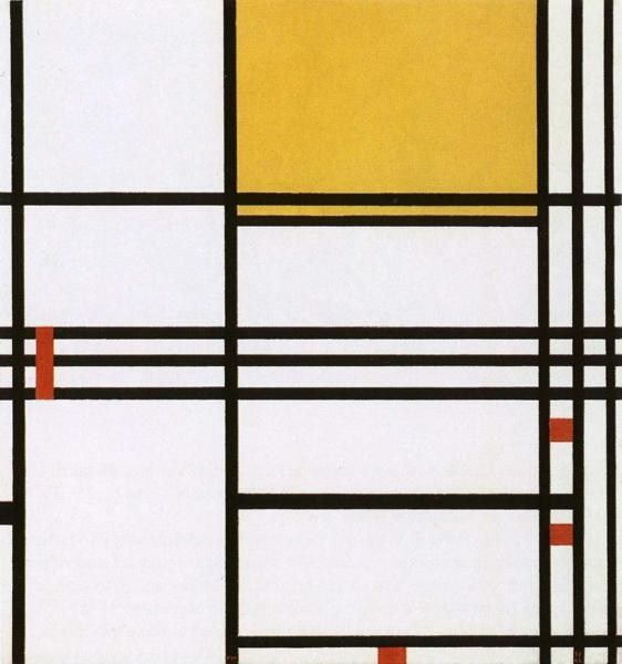 Piet Mondrian omposition with Black White Yellow and Red