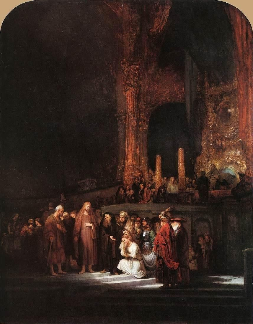 Rembrandt Christ and the Woman Taken in Adultery