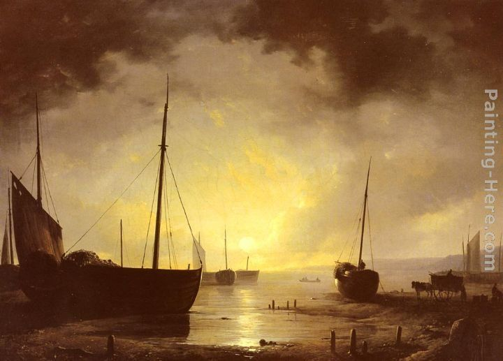 Remigius Adriannus van Haanen Beached Fishing Boats by Moonlight