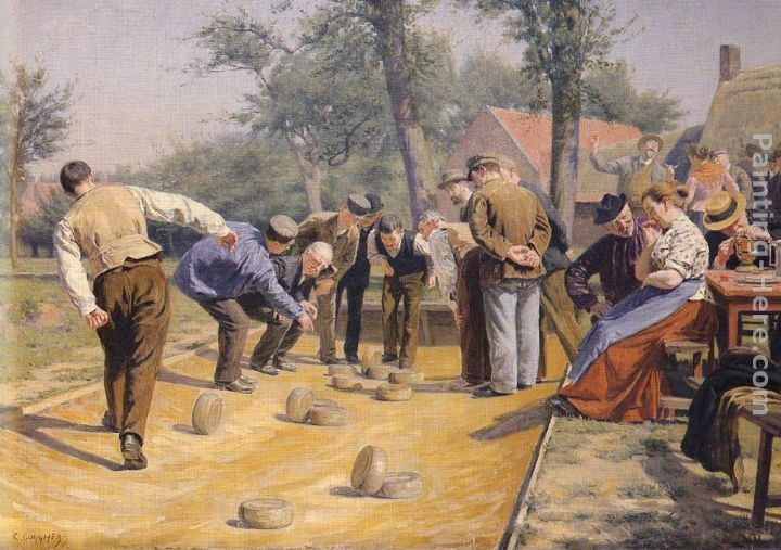 Remy Cogghe A Game of Bowls in the Village Square