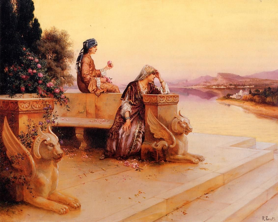 Rudolf Ernst Elegant Arab Ladies on a Terrace at Sunset