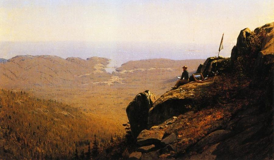 Sanford Robinson Gifford The Artist Sketching at Mount Desert, Maine