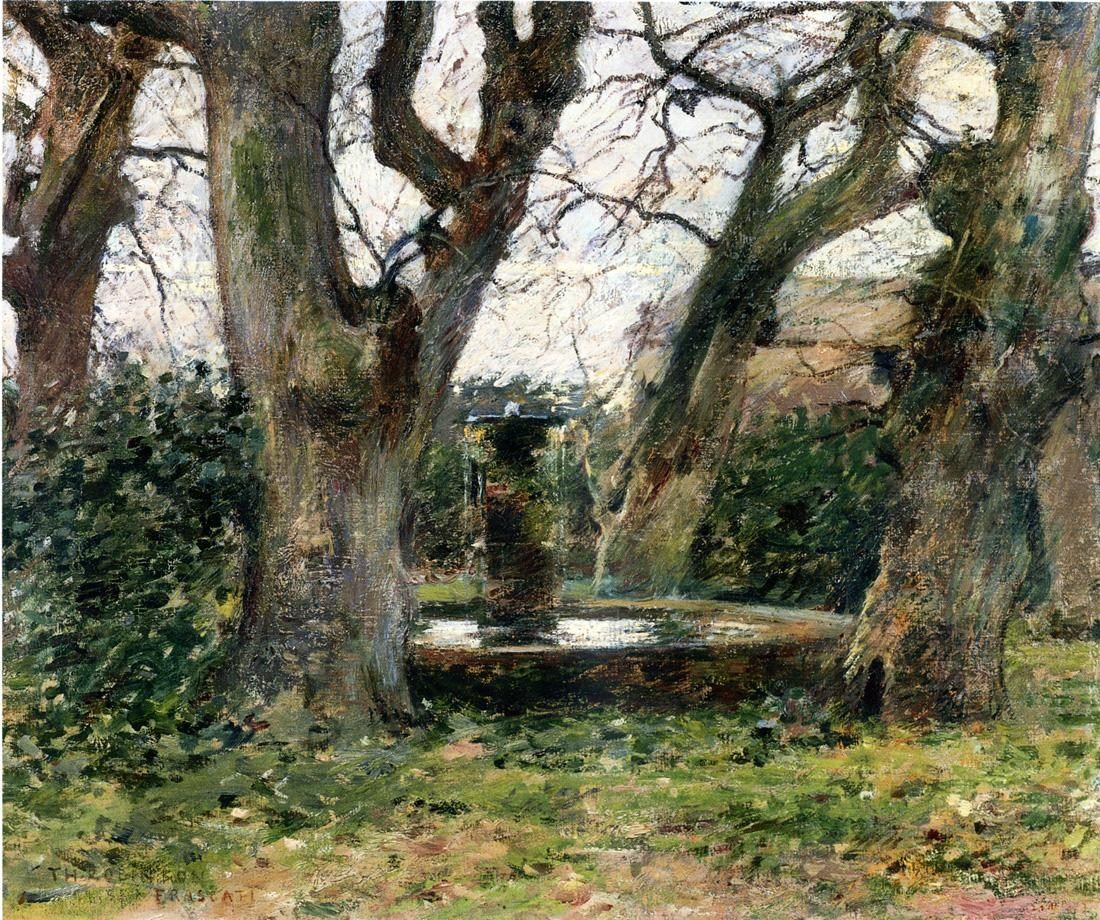 Theodore Robinson Italian Landscape with a Fountain