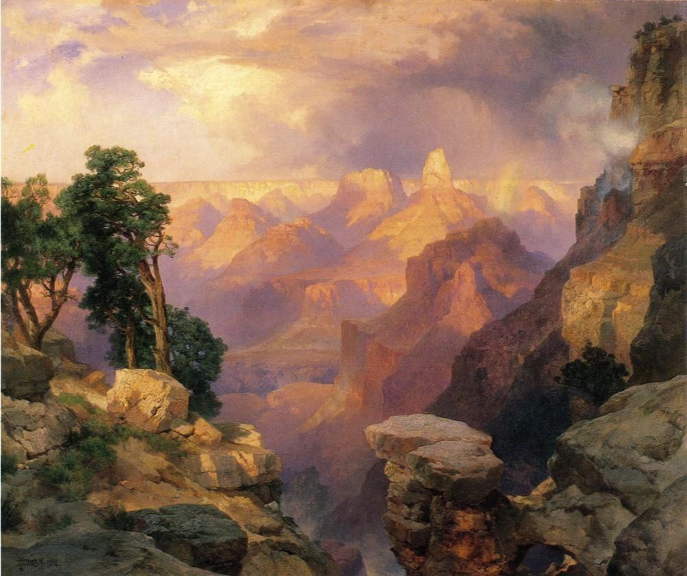 Thomas Moran Grand Canyon with Rainbows