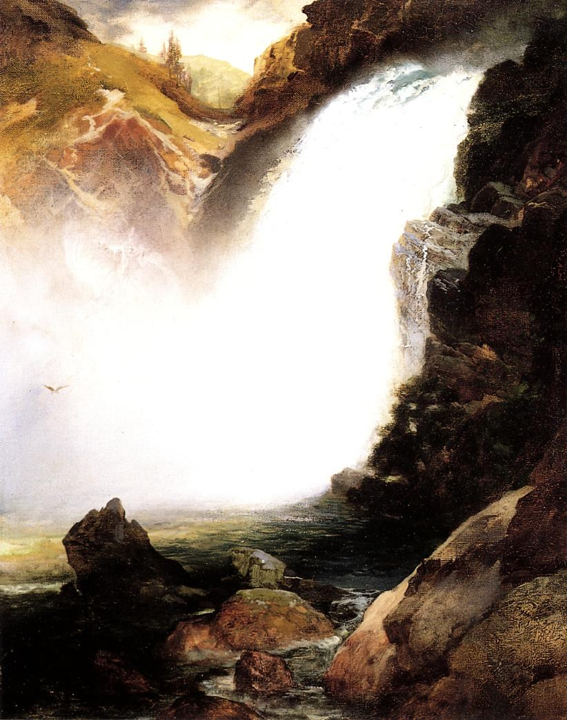 Thomas Moran Landscape with Waterfall