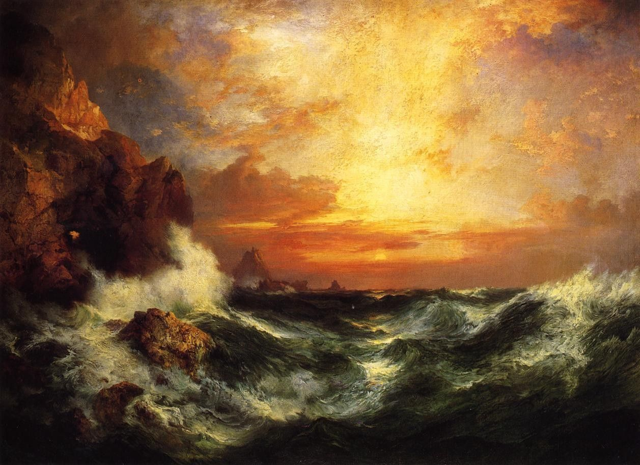 Thomas Moran Sunset near Land's End, Cornwall, England