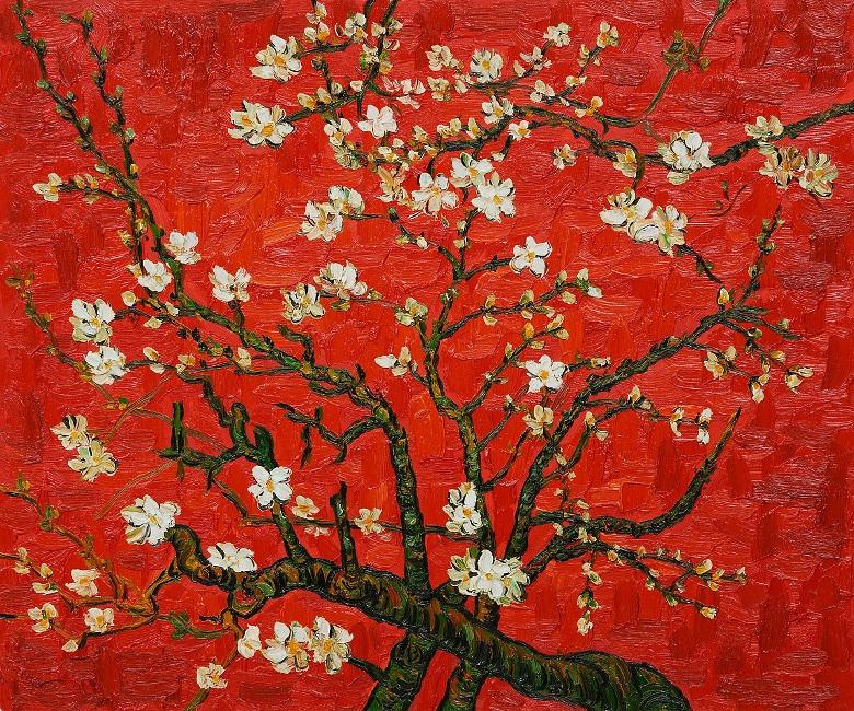 Vincent van Gogh Branches of an almond tree in Blossom in Red