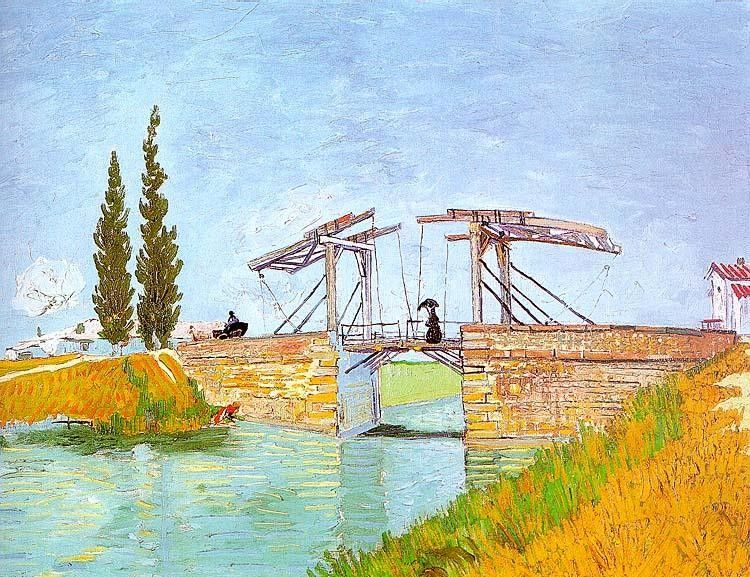 Vincent van Gogh Drawbridge with a Lady with a Parasol