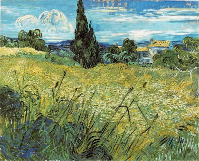 Vincent van Gogh Green Wheat Field with Cypress