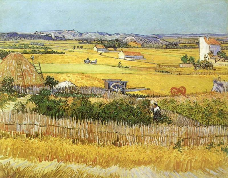 Vincent van Gogh Harvest at La Crau_ with Montmaiour in the Background
