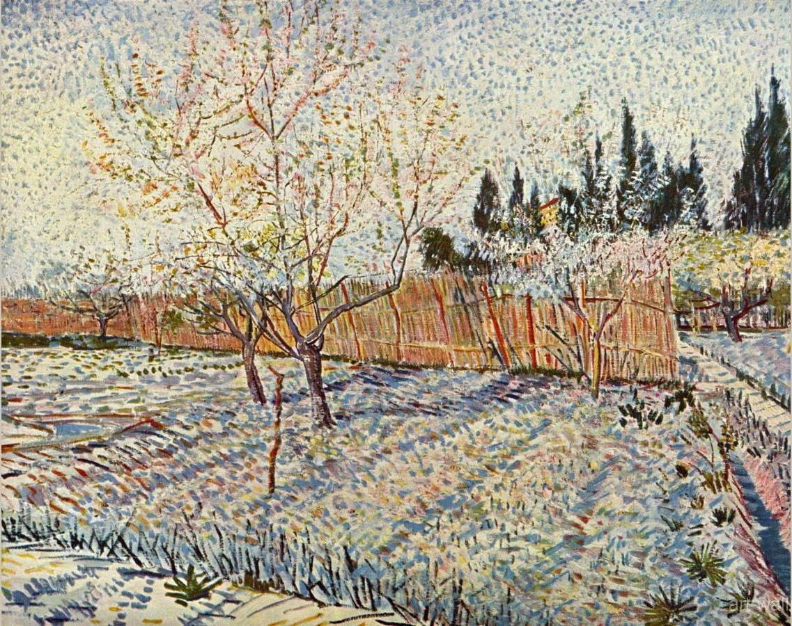 Vincent van Gogh Orchard with cypress