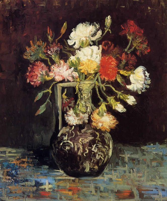 Vincent van Gogh Vase with White and Red Carnations