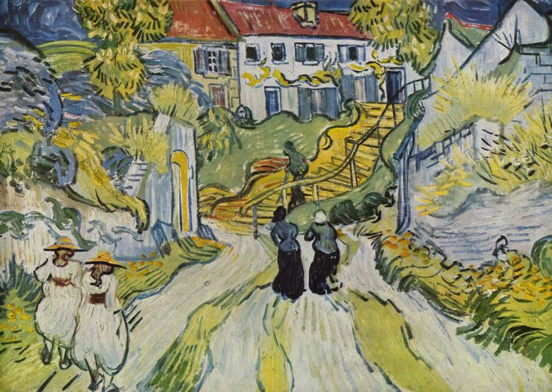 Vincent van Gogh Village Street and Stairs with Figures